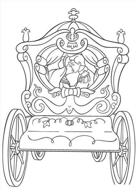 Kleurplaat Prinses Met Koets