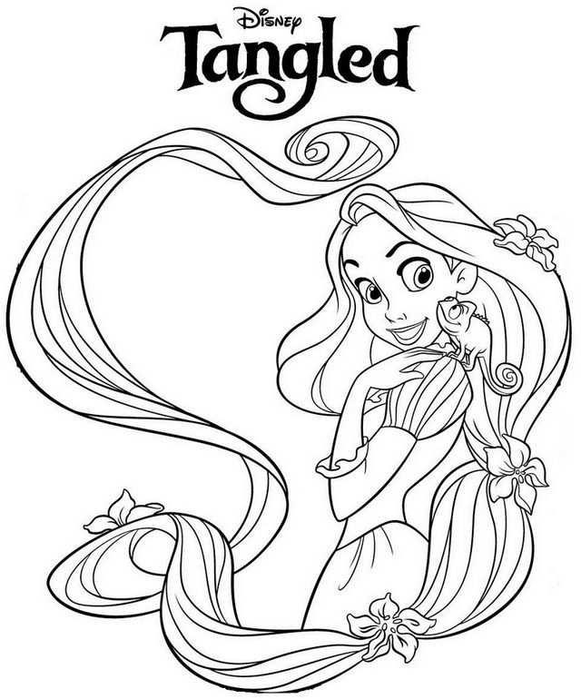 Beautiful Princess Rapunzel Coloring Page In 2020 Disney Tekenen