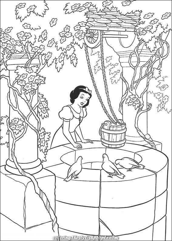 Kleurplaat Disney Prinsessen Sneeuwwitje Zingt Met Afbeeldingen