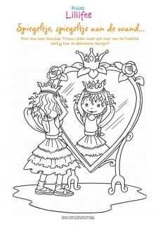 Kleurplaat Voor De Spiegel Met Afbeeldingen Prinsessen