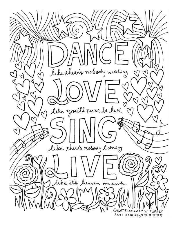 Free Coloring Book Pages For Grown Ups Inspiring Quotes With