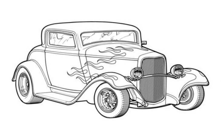 Classic Hot Rod Car Coloring Page Printable Kleurplaten