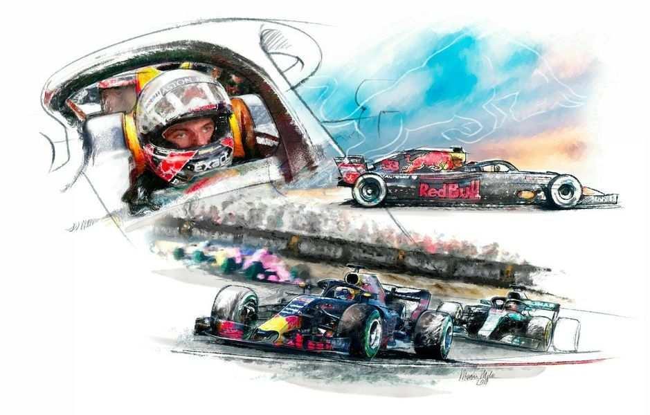 Max Verstappen Red Bull Racing Van Martin Melis Op Canvas