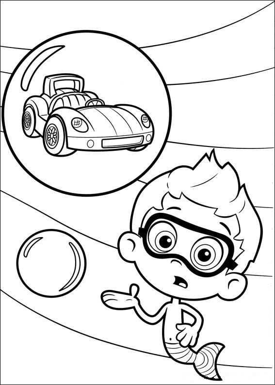 Kleurplaat Bubble Guppies Nonny En Raceauto Kleurplaten