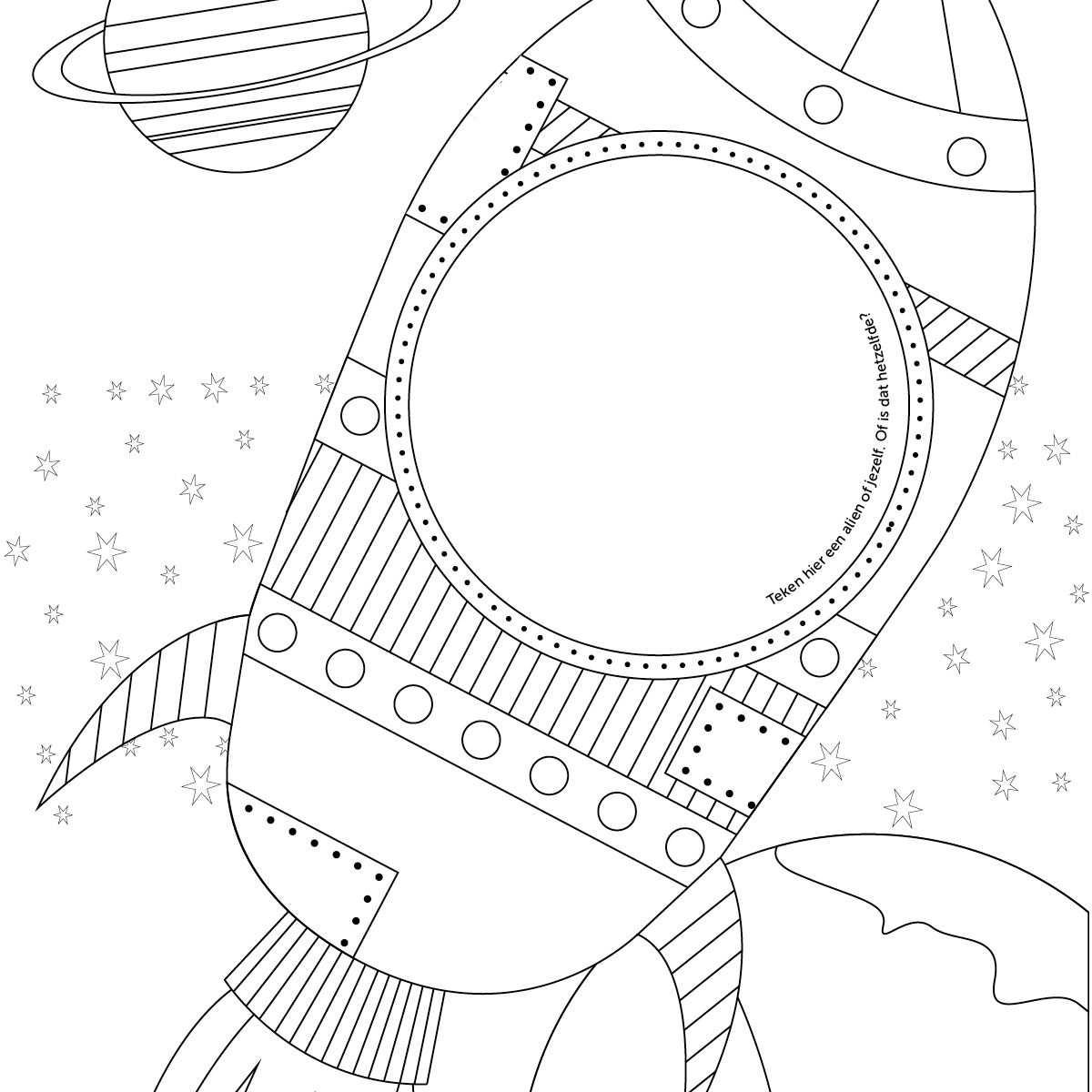 Kleur En Teken Deze Kleurplaat Met Astronaut En Raket