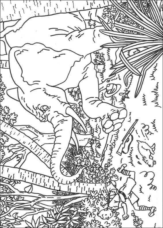 Print Kuifje Achtervolgt Door Een Olifant Kleurplaat Met