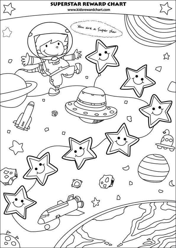 Boy Reward Chart Kleurplaten Ruimte Thema Ruimte