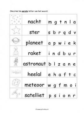 Werkblad Ruimte Beginletter Moeilijk Heelal Letterherkenning