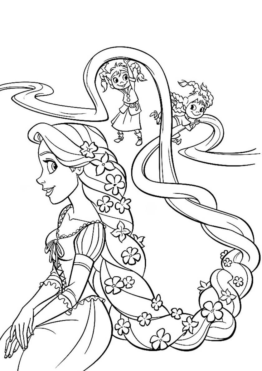 Children Play With Rapunzel High Quality Free Coloring From The