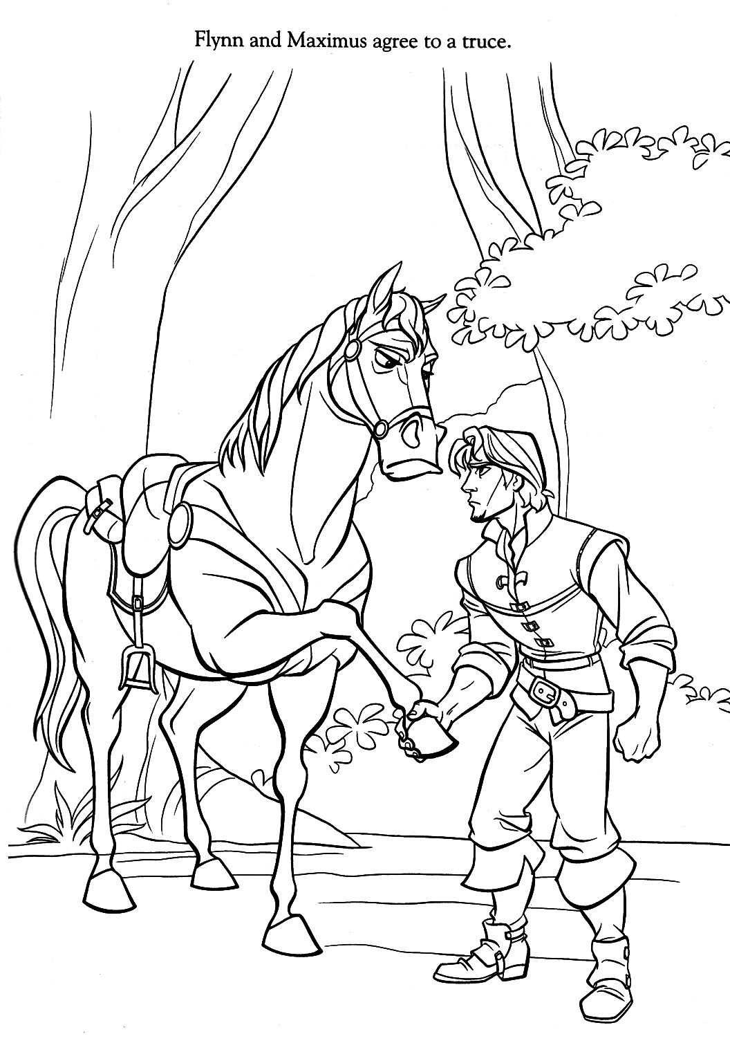 kleurplaat rapunzel paard
