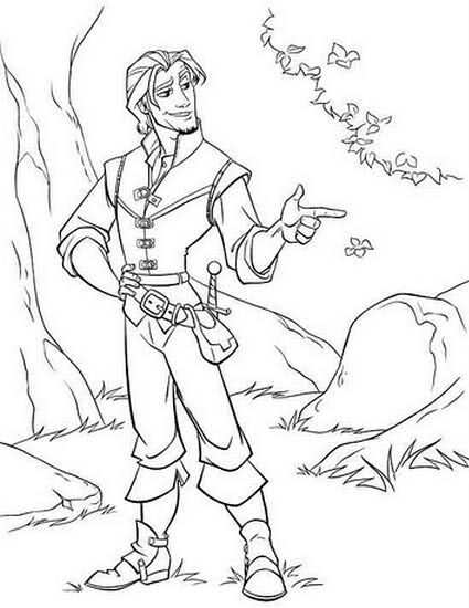 Flynn Rider Coloring With Images Tangled Coloring Pages