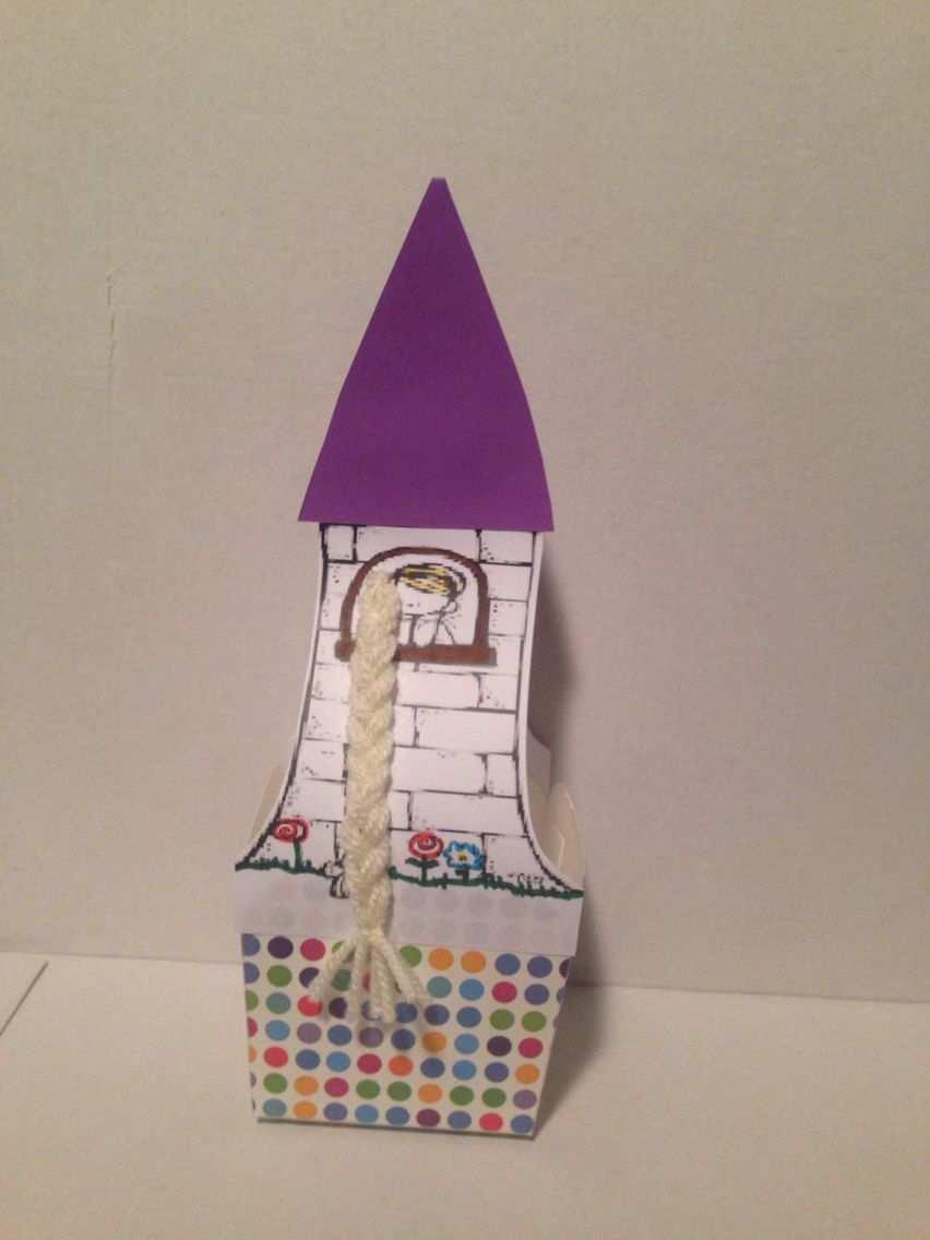Traktatie Rapunzel Toren Kleurplaat Vlecht Van Wol Doosje