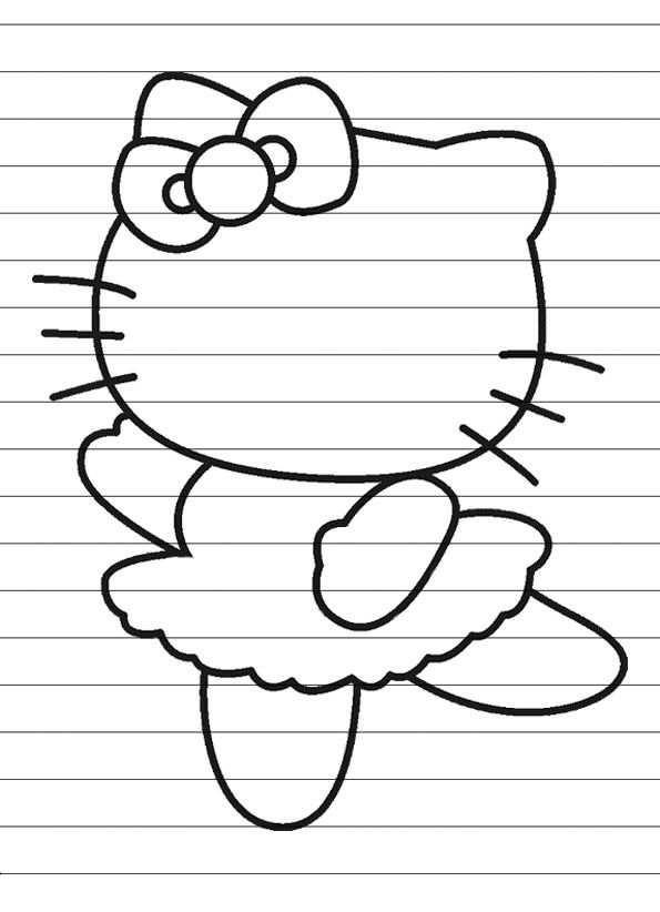 Hello Kitty In Regenboogkleuren Kleurplaat Met Afbeeldingen