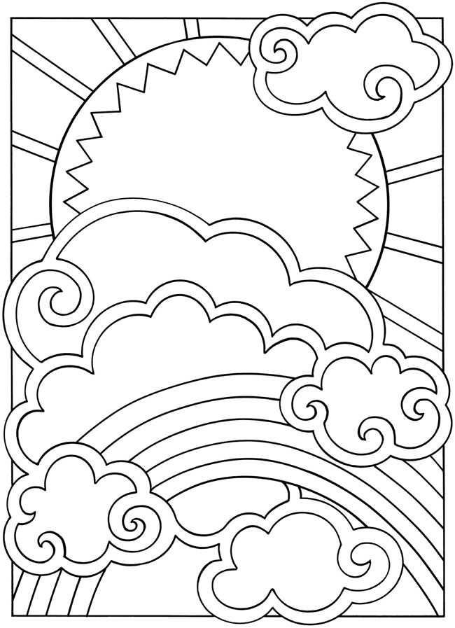 Kleurplaat Zon Wolk Regenboog Met Afbeeldingen Kleurplaten
