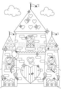 Outline Drawing Of Princesses At The Windows Of Their Fairy Tale