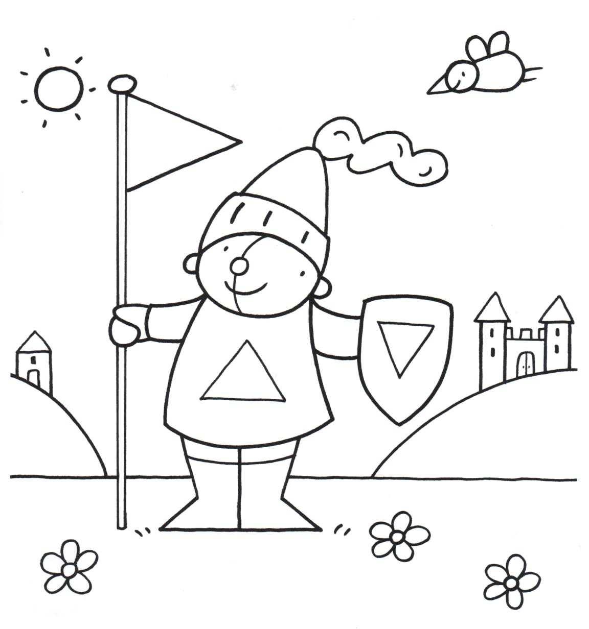 Kleurplaat Pompom Ridder School Ridders Ridders Kleurplaten