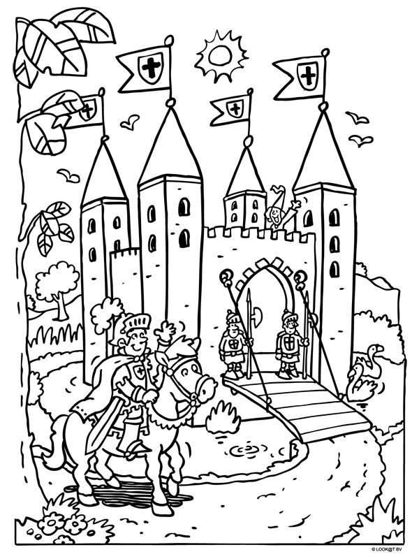 Kleurplaat Ridderkasteel Ridders Kleurplaten Middeleeuwse Ridder