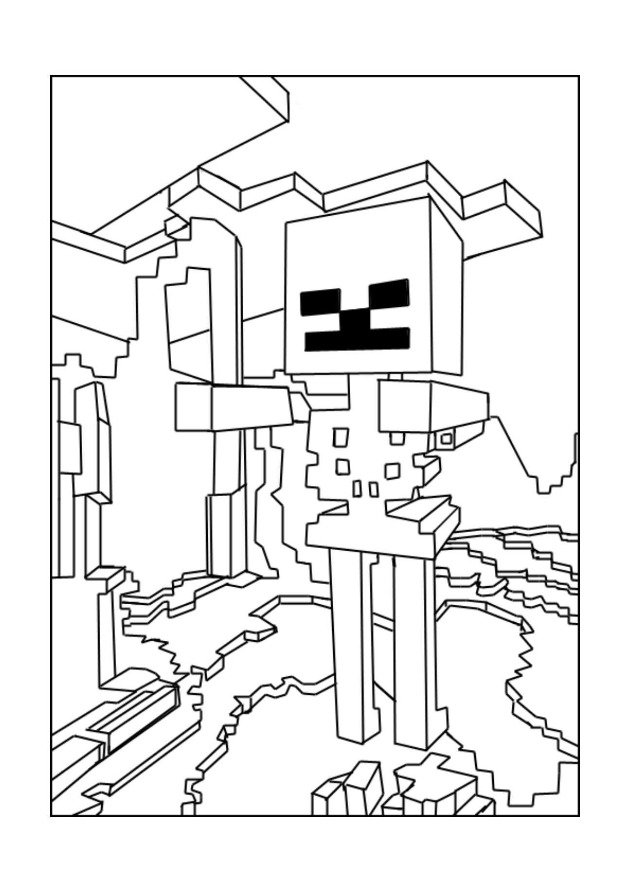 A Minecraft Skeleton Coloring Page With Images Minecraft