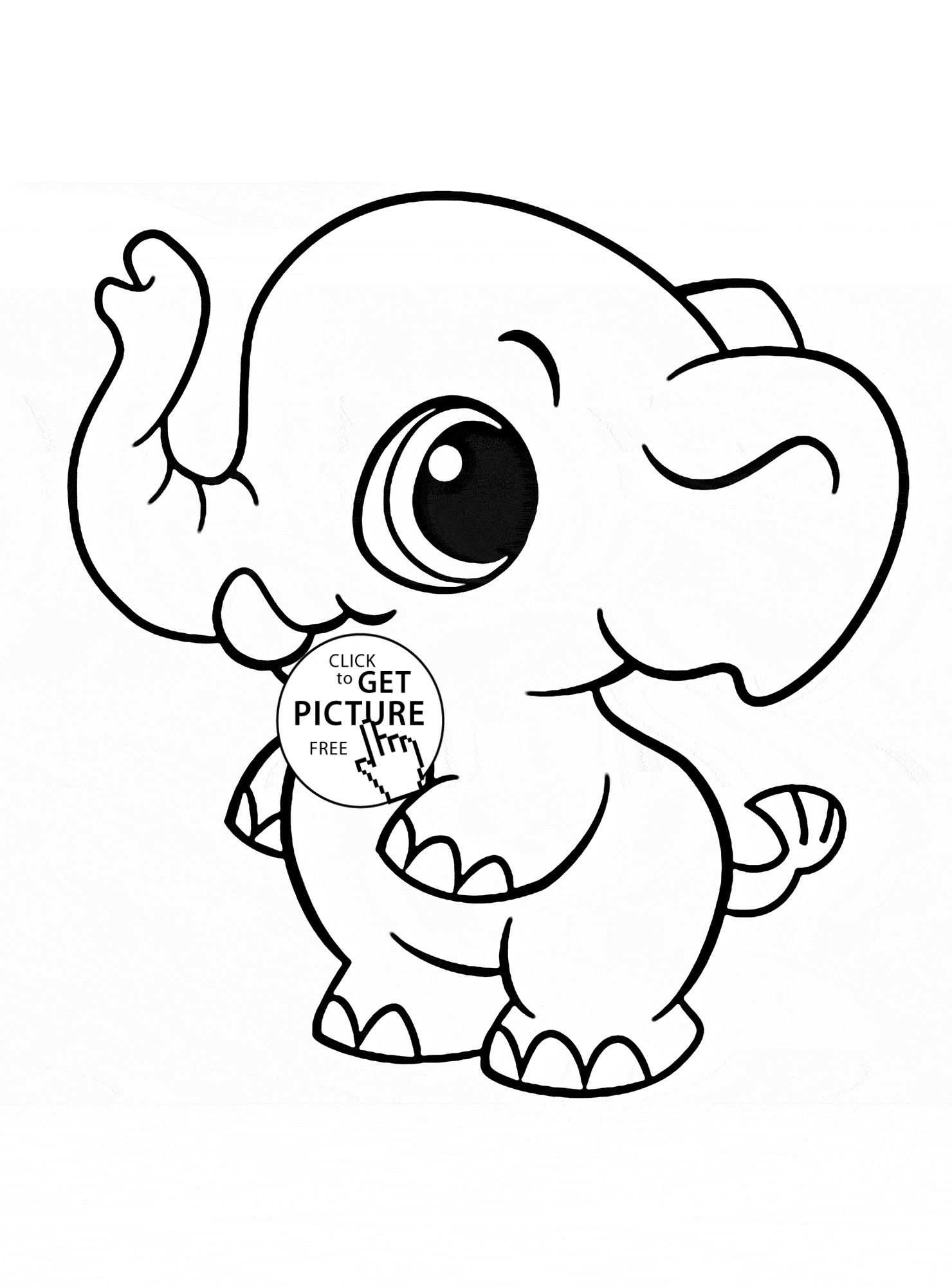 Cute Animals With Big Eyes Coloring Pages Elephant Coloring Page