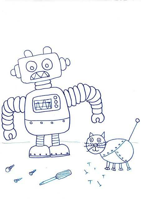 Free Printable Robot Colouring In Pictures Thema Kleurplaten Robot