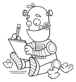 Coloring Page Tuesday Writing Robot Kleurplaten Thema Robot