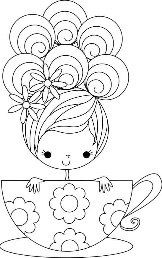 Cup Of Cuteness Embroidery Kleurplaten Borduurpatronen Gratis
