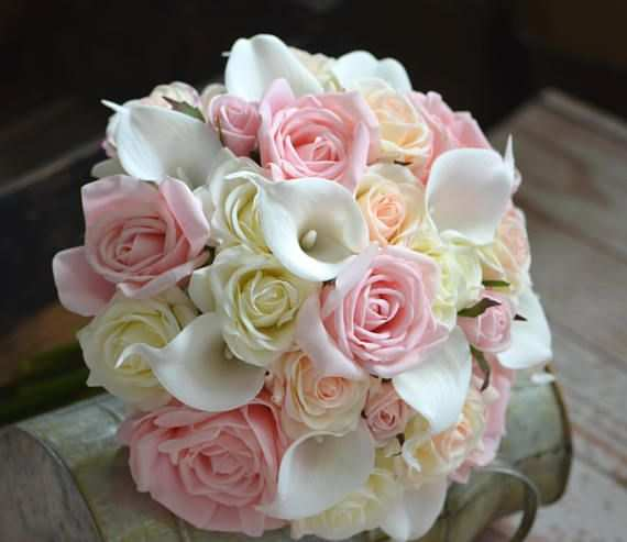 Pink Roses Bouquets Real Touch Ivory Pink Blush Roses Calla Lilies