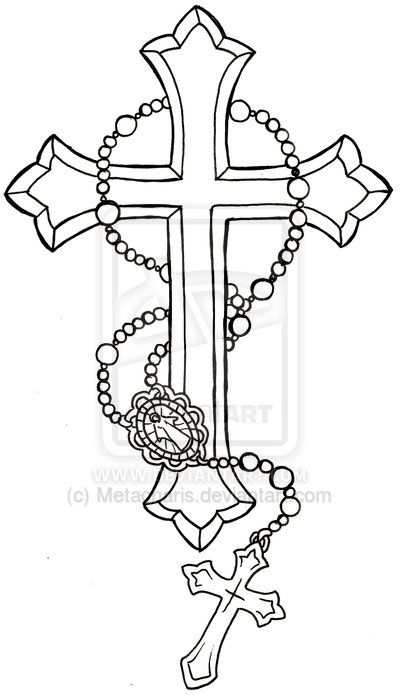 Cross With Rosary Tattoo By Metacharis Deviantart Com On