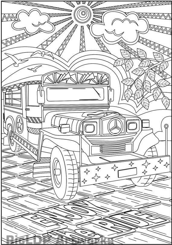Philippine Jeepney Coloring Page With Images Coloring Pages