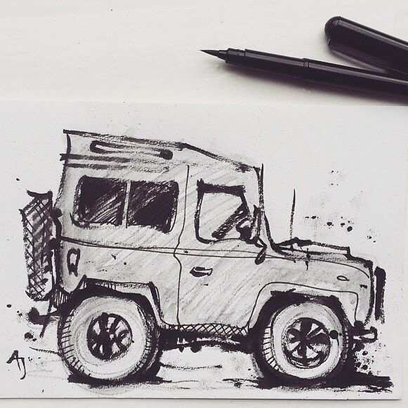 Land Rover Defender For Sale Drawing Of In My Etsy Shop Aj