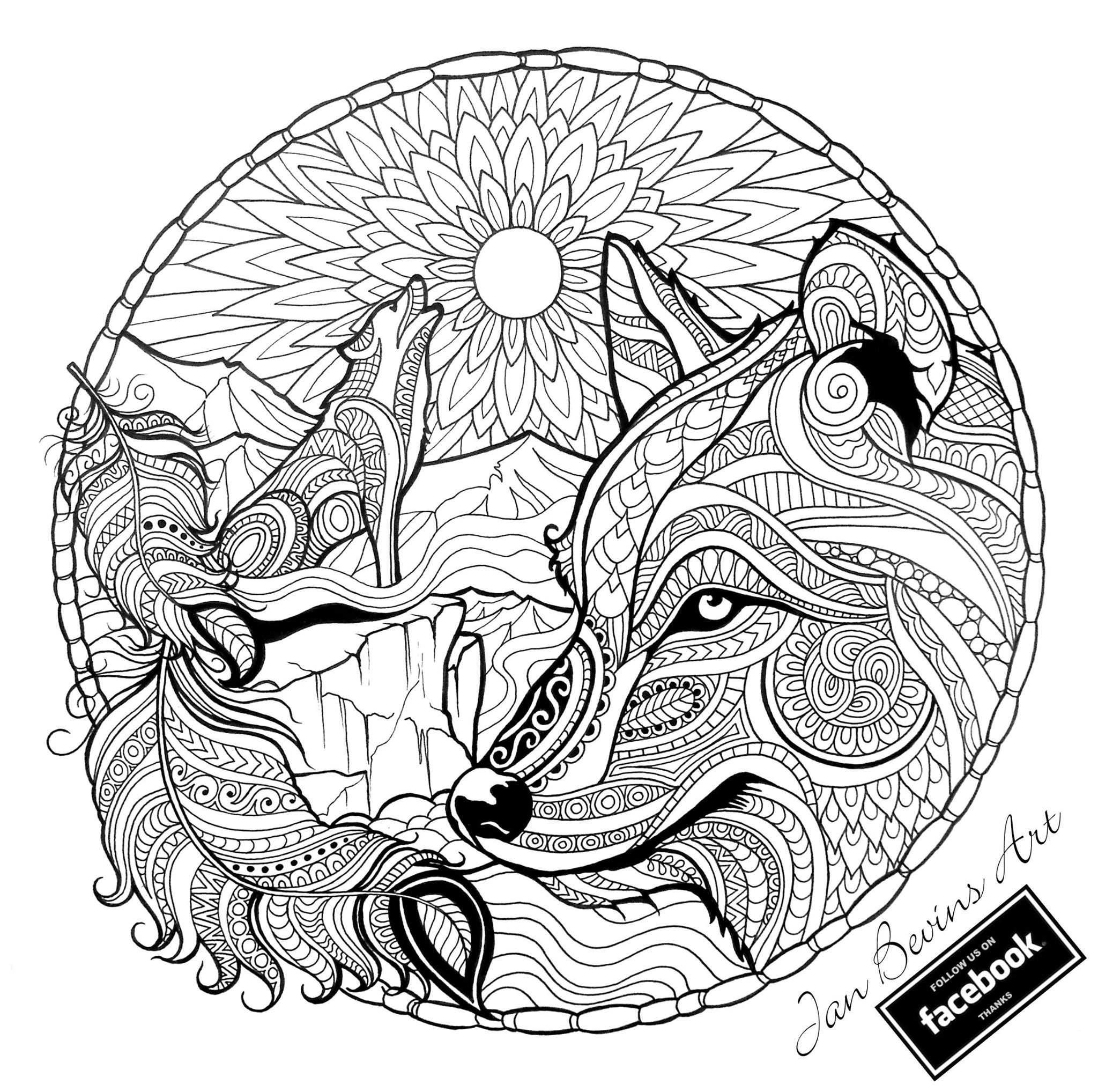 Native Wolf Coloring Met Afbeeldingen Mandala Kleurplaten