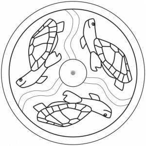 Sea Turtle Mandala Coloring Mandala
