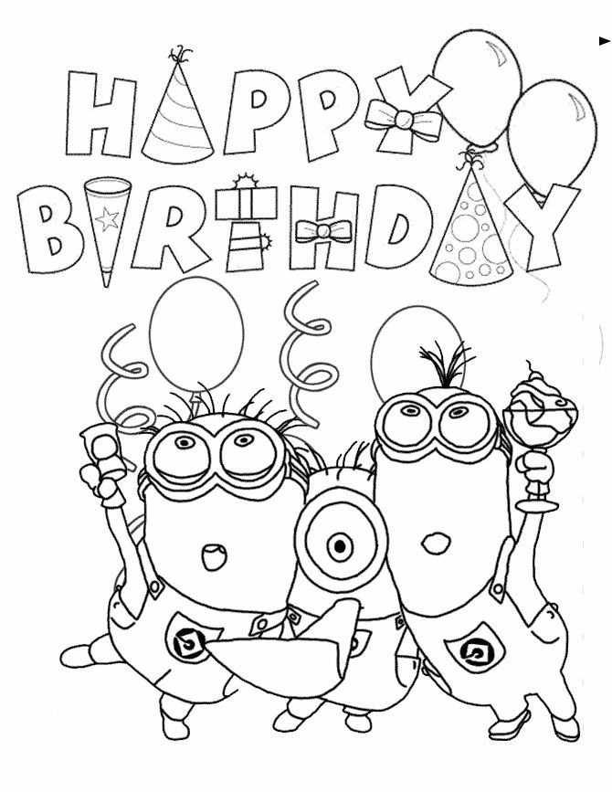 Minion Birthday Coloring Page Kleurplaten Minion Verjaardag