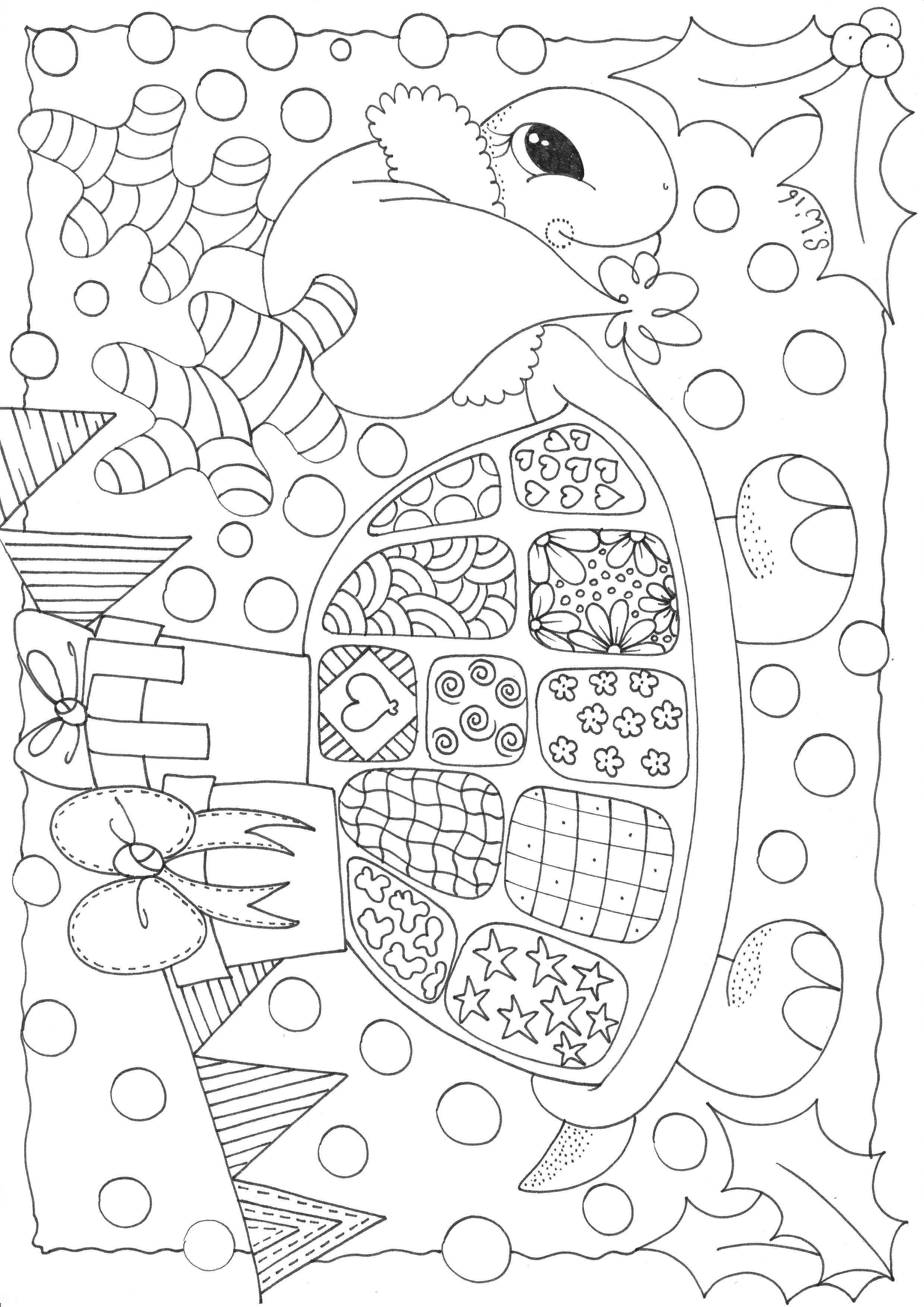 Kerst Feest Schildpad Met Afbeeldingen Kleurplaten Kleuren