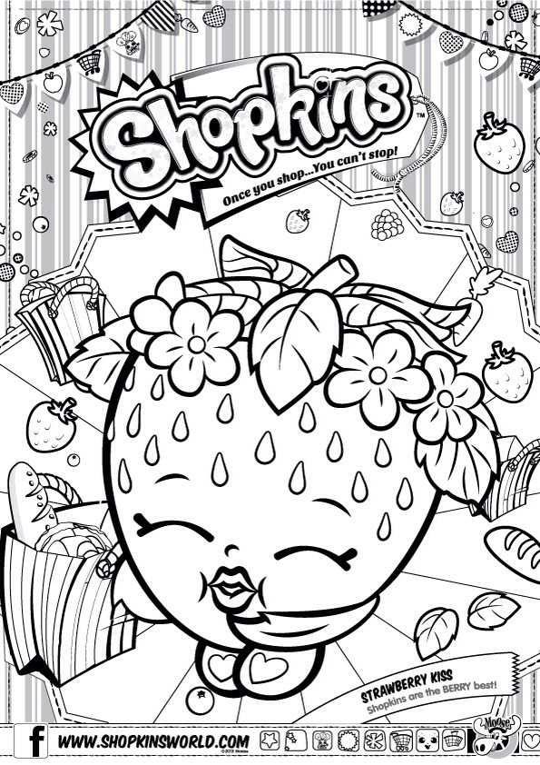 Shopkins Colour Color Page Strawberry Kiss Shopkinsworld With