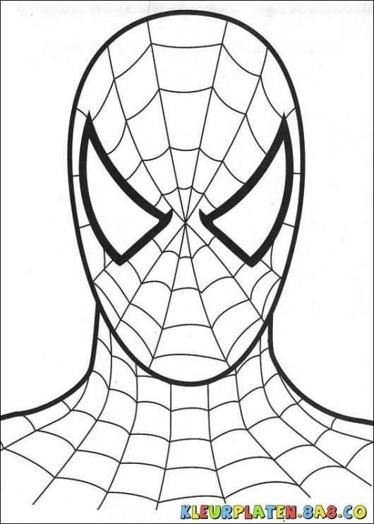 Spider Man Mask Kleurplaten Kleurplaten Voor Kids Tekening Van