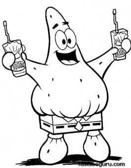 Printable Cartoon Spongebob Patrick Squarepants Coloring Pages