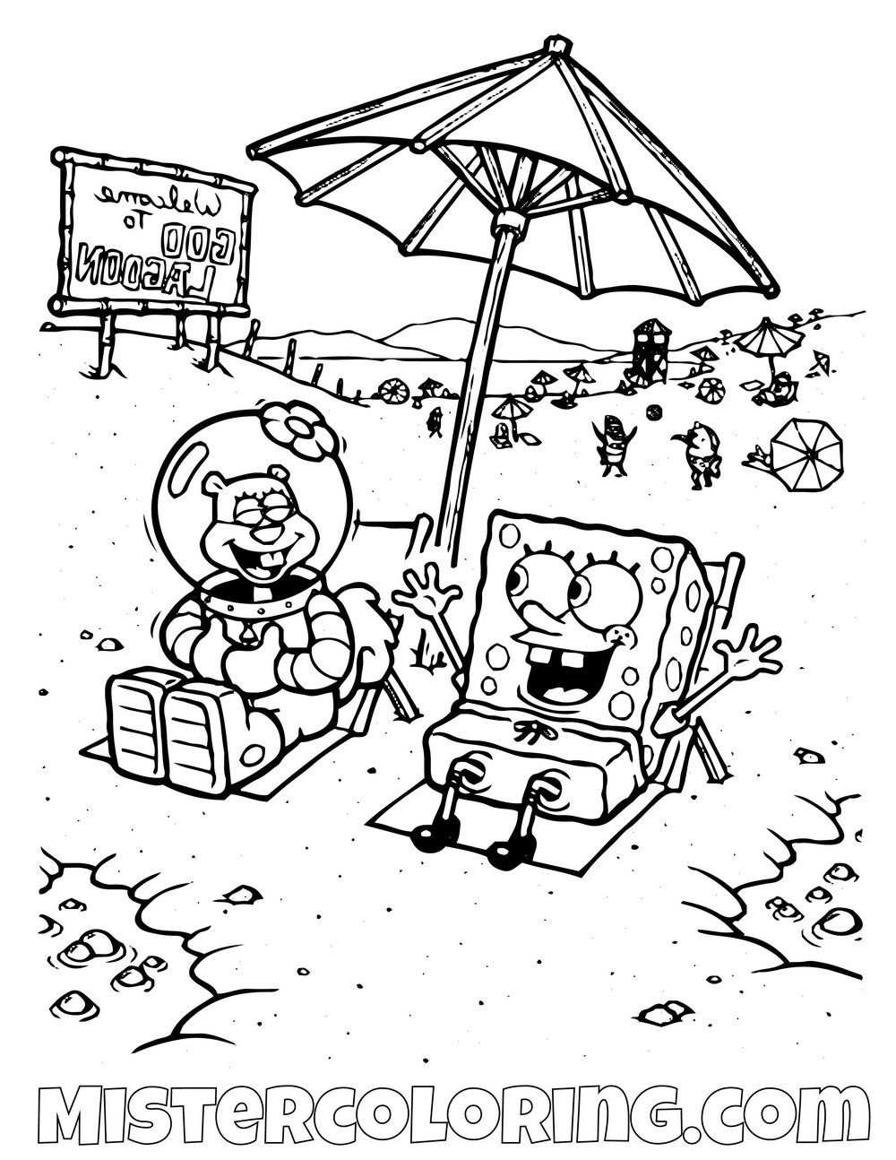 Spongebob And Sandy On The Beach Spongebob Squarepants Coloring