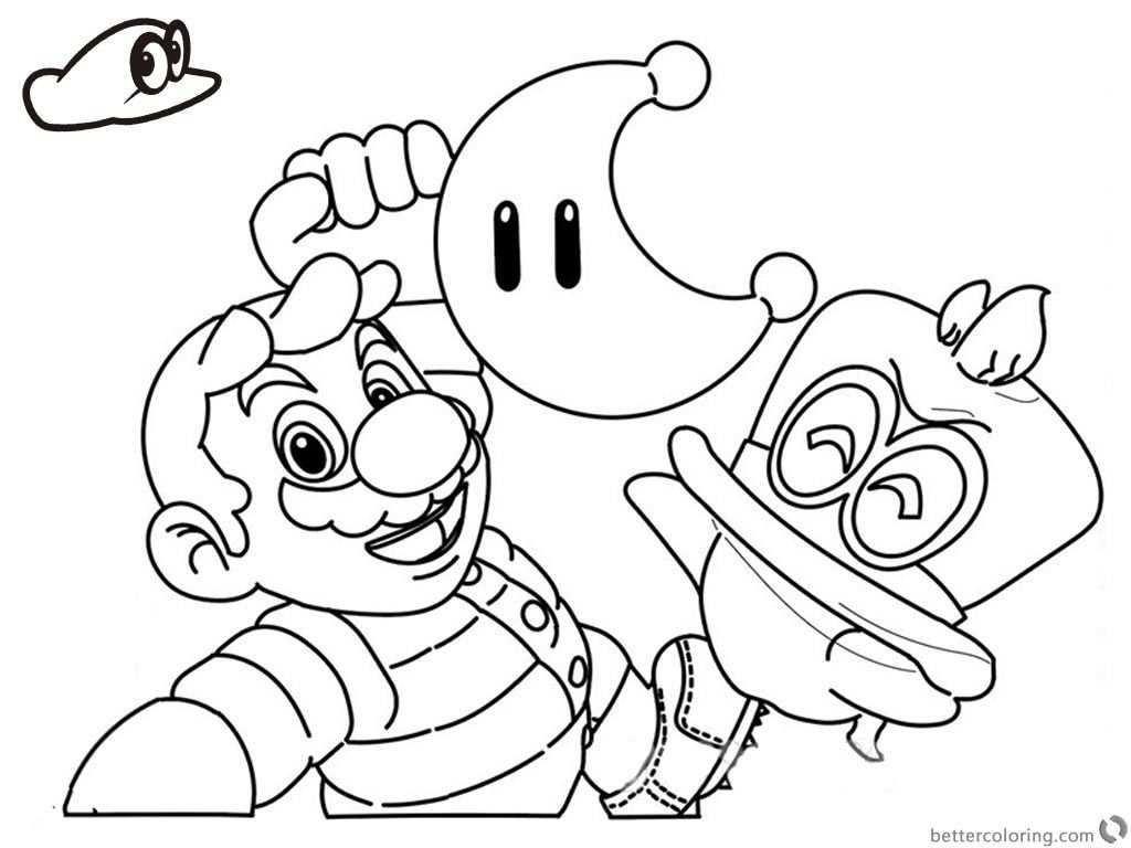 Super Mario Odyssey Coloring Pages Line Drawing With Images