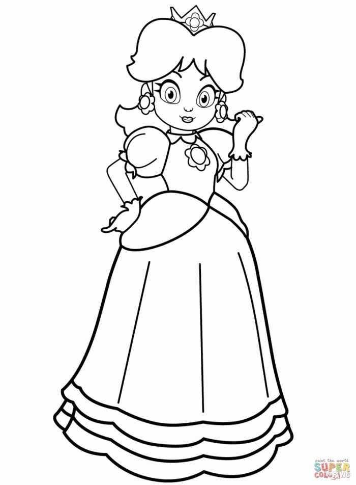 Printable Princess Coloring Pages Kleurplaten En Mario
