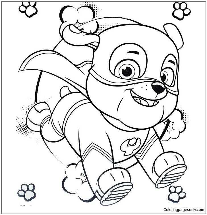 Super Hero Rubble Paw Patrol Coloring Page Met Afbeeldingen