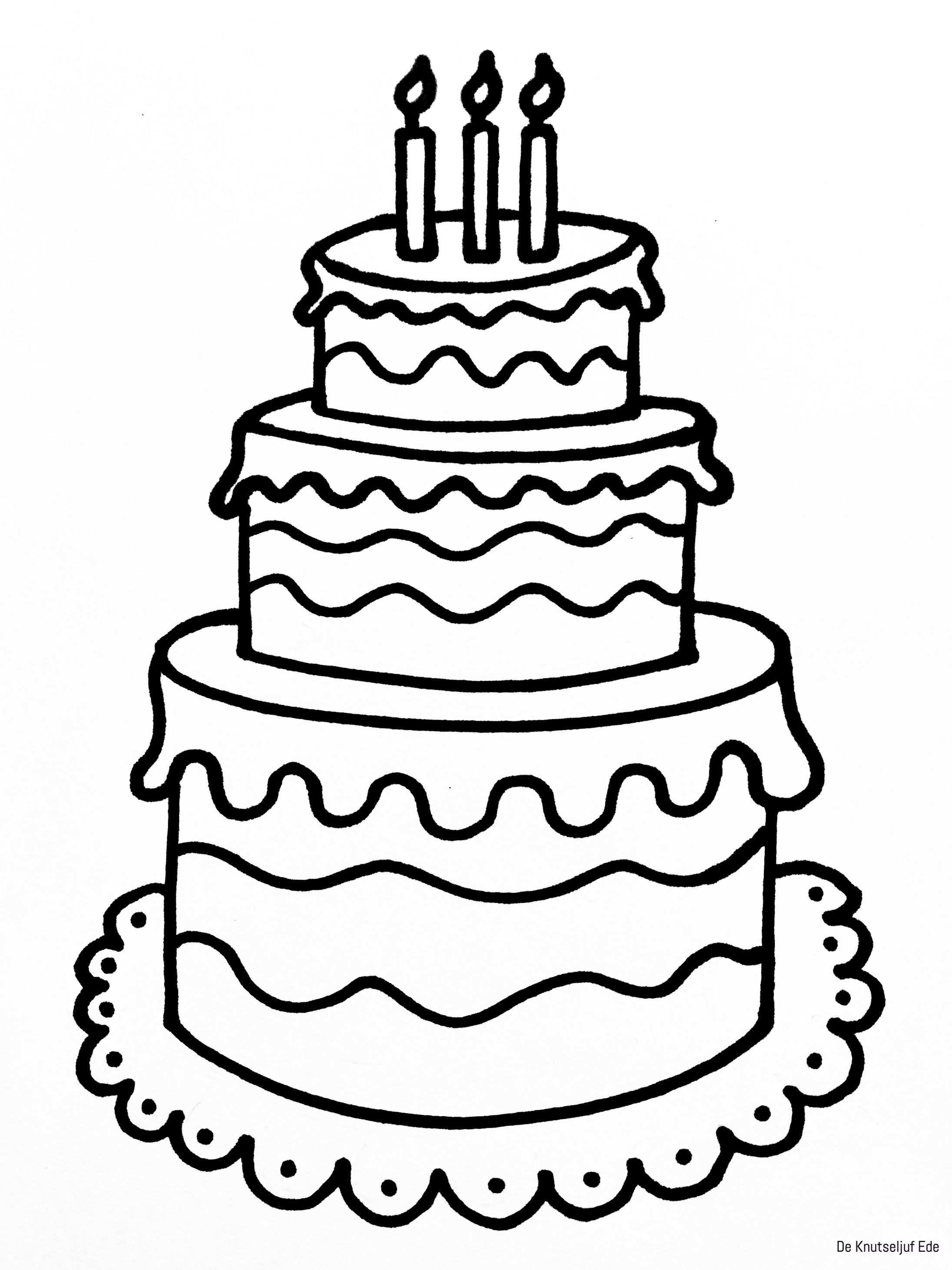 kleurplaat taart 2 jaar