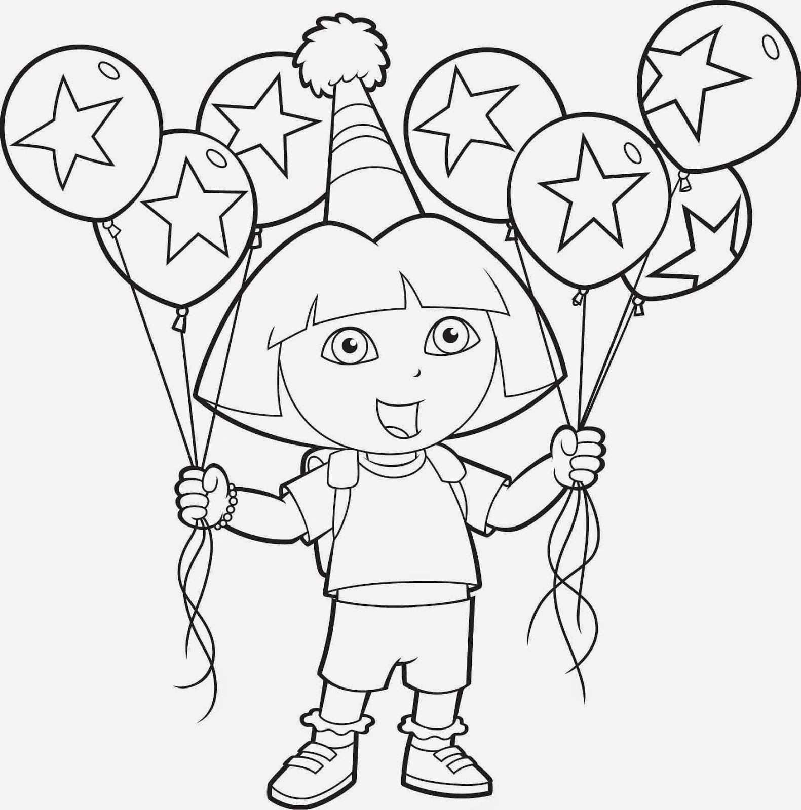 Dora Taart Met Afbeeldingen Kleurplaten Ballonnen Dieren