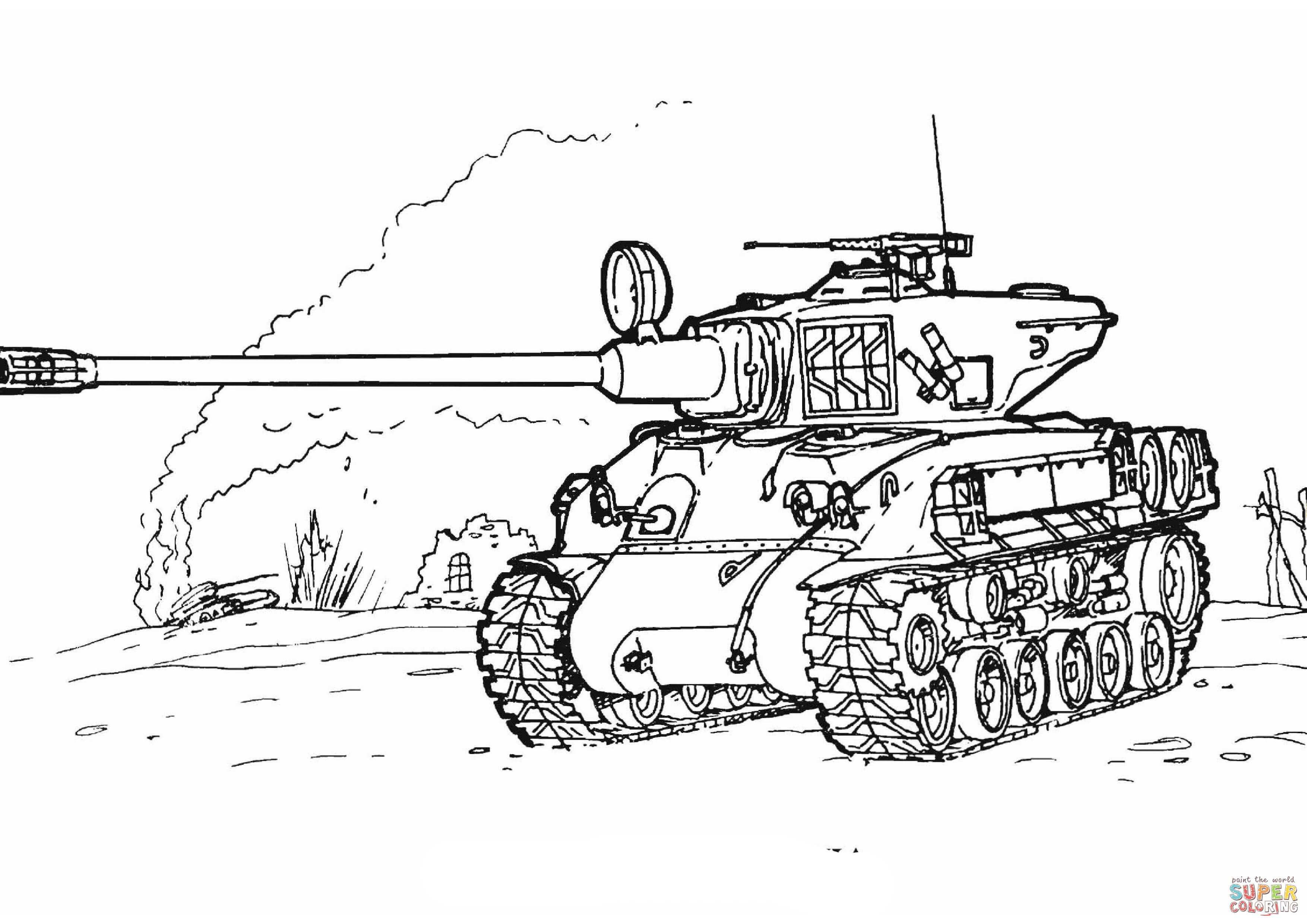 Sherman M 51 Tank Coloring Page From Tanks Category Select From