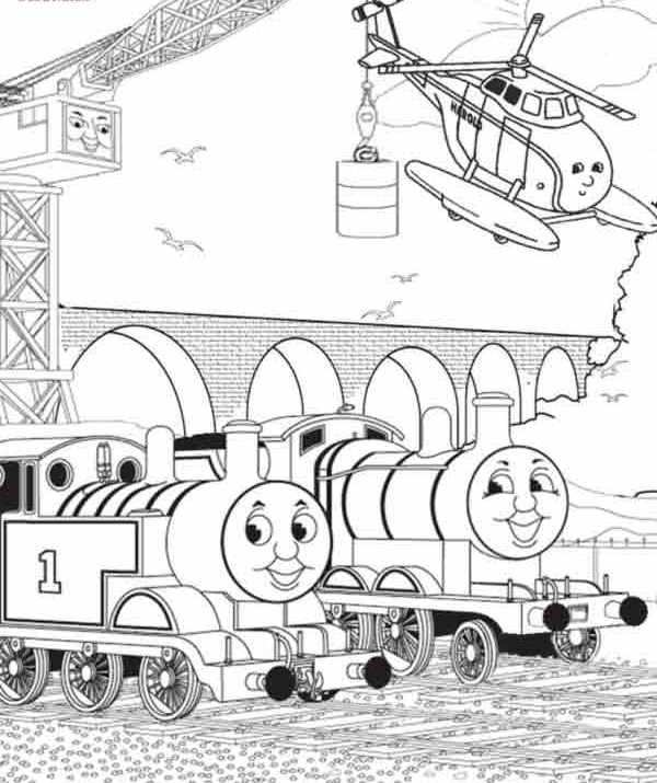 Thomas And Two Helicopter Coloring Page Thomas De Trein
