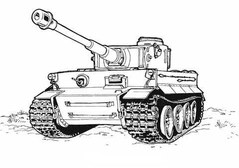 Kleurplaat Tiger Tank