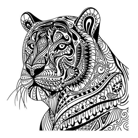 Tiger In Pattern Wall Sticker Mandala Animal Wall Decal Decor