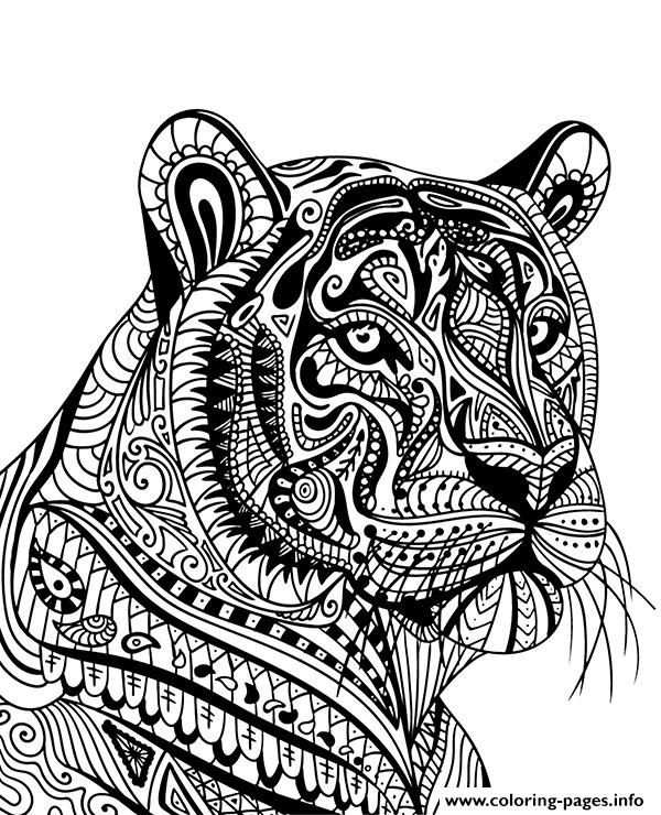 Print Mandala Tiger Adult Animal Coloring Pages Mandala Coloring