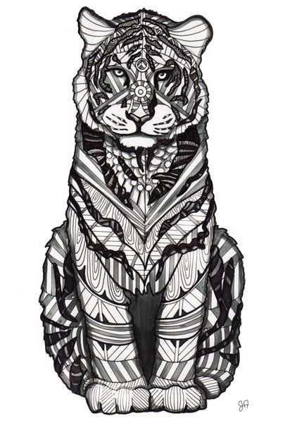 Tiger Art Print By Jessicaandersonart Met Afbeeldingen