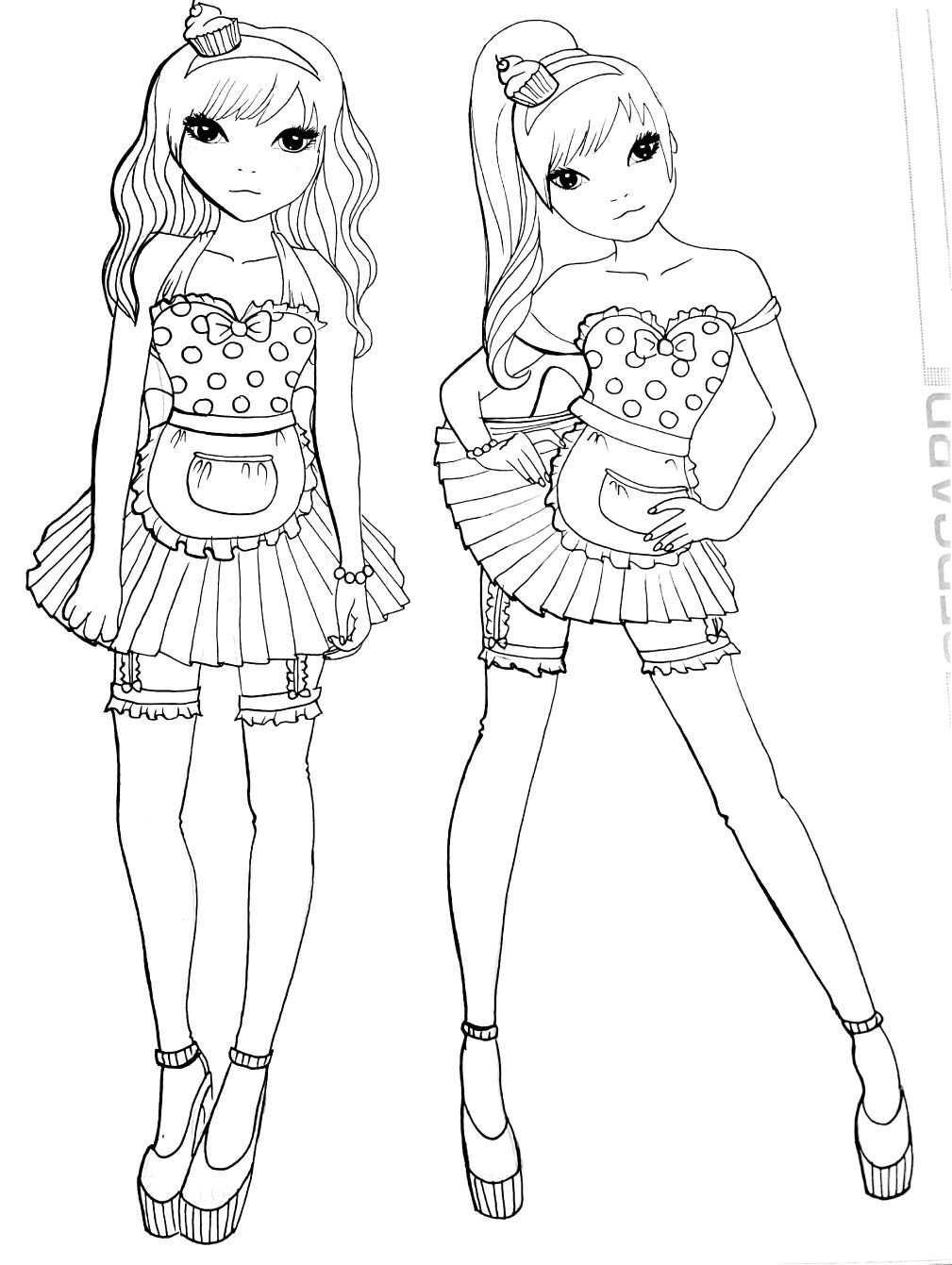 kleurplaat topmodel tweeling